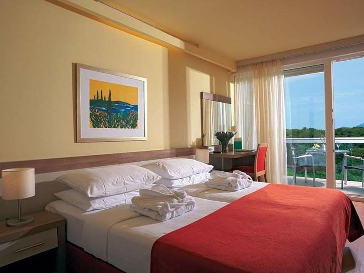 Double room, standard plus, sea side balcony, and half board