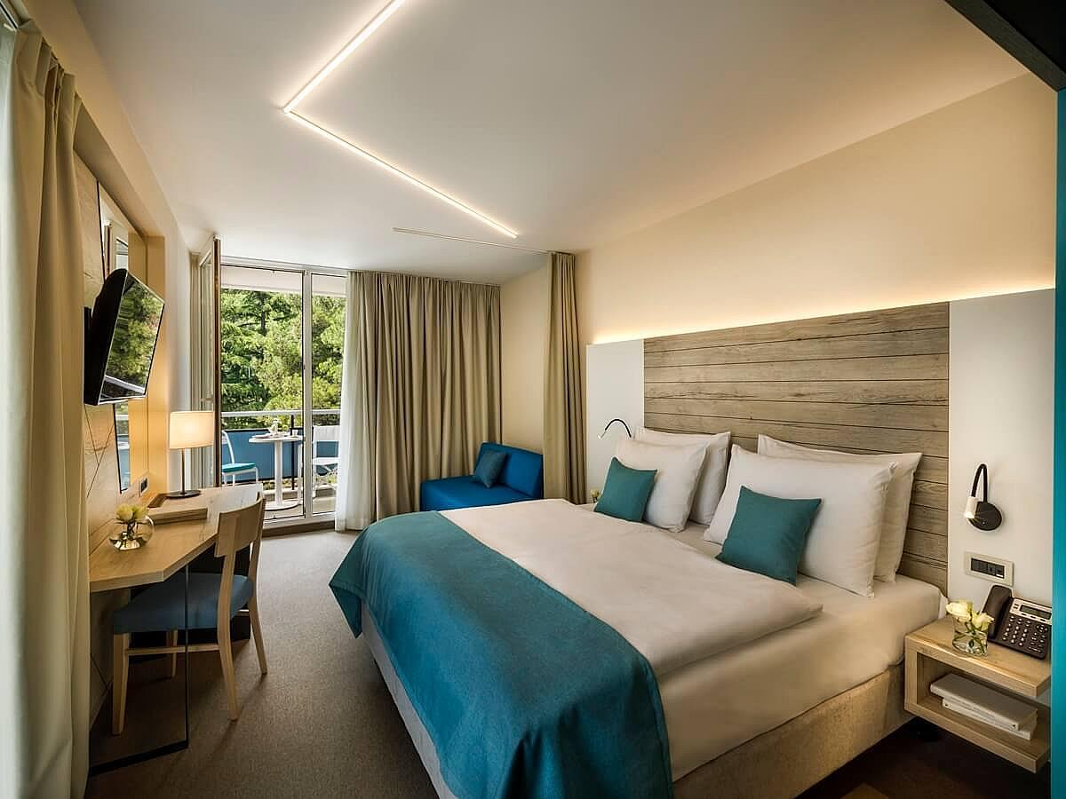 Cameră cu până la două paturi superior cu balcon cu vedere la parc/munte cazare cu demipensiune